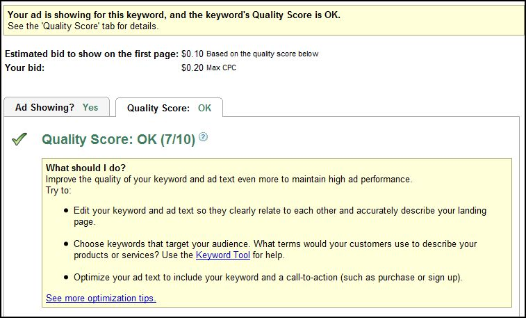 Adwords New Quality Score