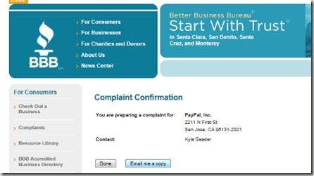 BBB Paypal Complaint