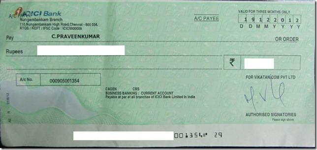 vikatan cheque
